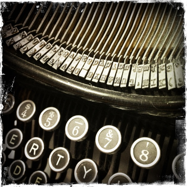 Found, old typewriter! / I hear Father's voice through it / thought it was not his. Haikumages