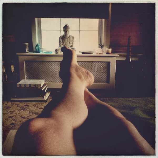 Reclining on couch / Buddha on the windowsill / daughter beside me. - Haikumages