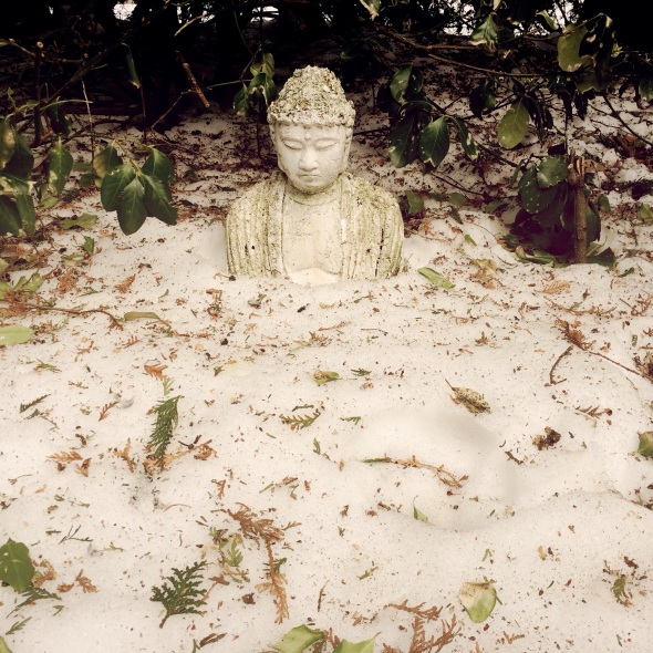 Snow recedes / slowly revealing / the Buddha. Haikumages