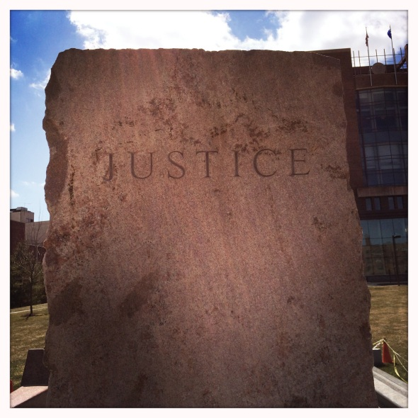 I heard the voice of / justice speak today but she / did not call my name. Haikumages
