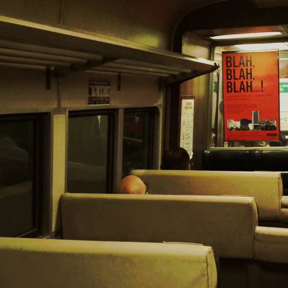 """It's a quiet car!"" / barked the man unquietly / glaring at talkers. 