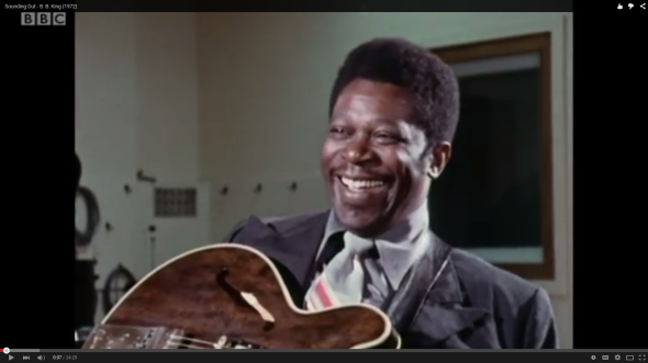 B. B. King smiling - on the set of BBC video (screenshot)