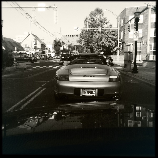 Ahead, the bald man / top down, smoke, phone, loud music / for me to enjoy. // haiku - haikumages