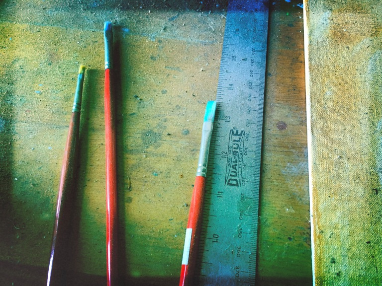Three dusty brushes / left by the happy artist / without need to paint. // haiku - micropoetry - haikumages