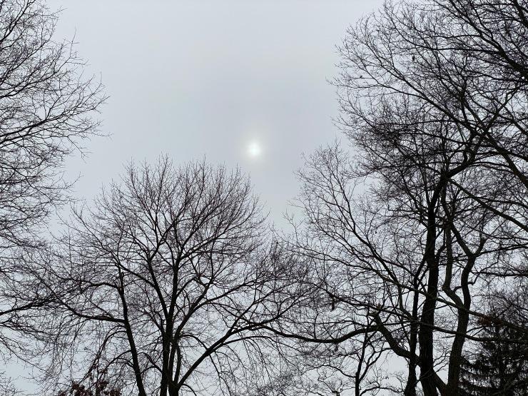Sun glowing, diffused / peering through gathering clouds / before the snowstorm. // micropoetry - haiku - haikumages