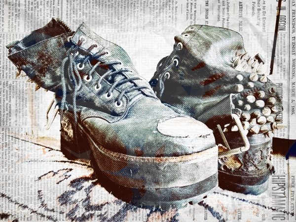 Impossibly cool / person's street-worn, storied shoes / in need of repair. // haiku - micropoetry - senryu